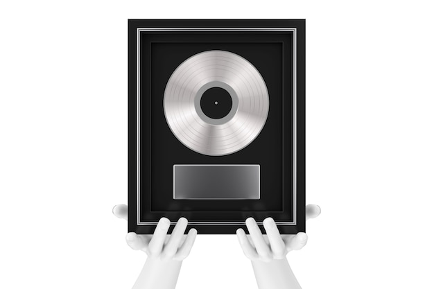 Abstract mannequin hands holding platinum or silver vinyl or cd prize award with label in black frame on a white background. 3d rendering