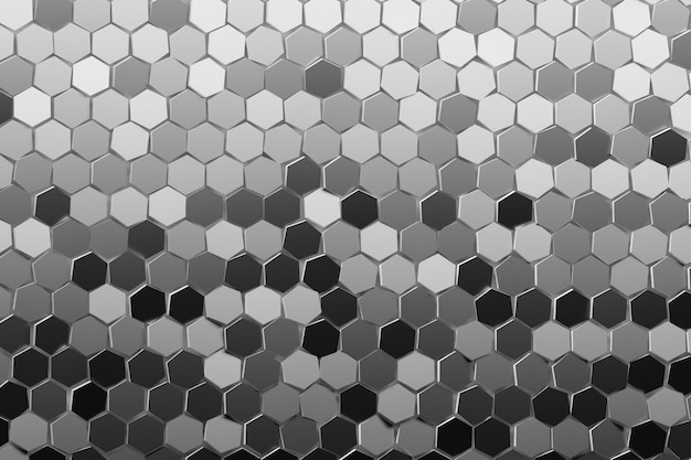 Abstract many repeating random colored hexagons in gray, black, white