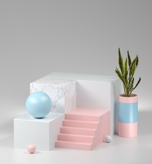 Abstract marble display and pastel perspective composition for show products with snake plants, 3d rendering