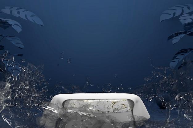 Abstract marble platform podium with splash water