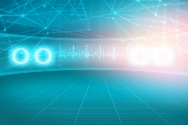 Abstract medical background with connection lines and medical lights