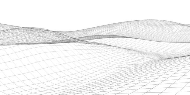 추상 메쉬 라인 구조 파형 기하학적 수평