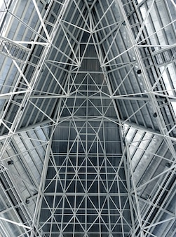Abstract metal structure roof interior in blue soft and white