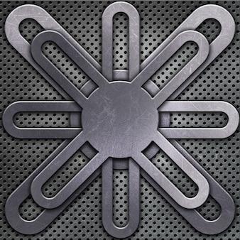 Disegno metallico astratto su uno sfondo di metallo perforato
