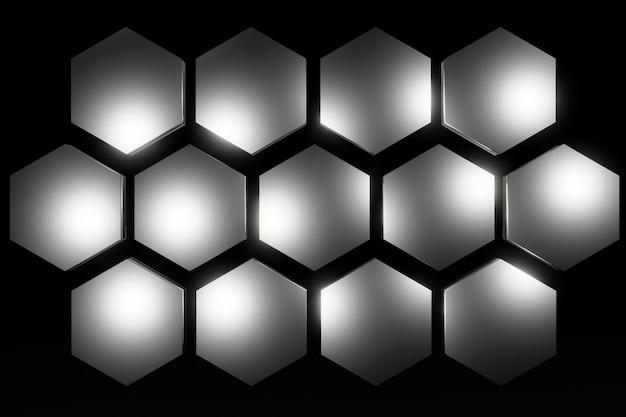 抽象的な金属六角形のハニカム背景3dレンダリング