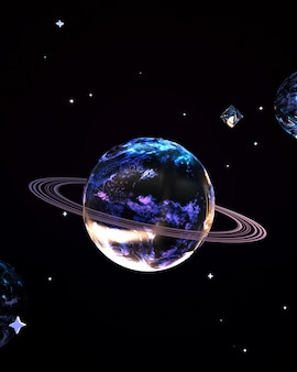 Abstract metallic outer space planet 3d rendered picture