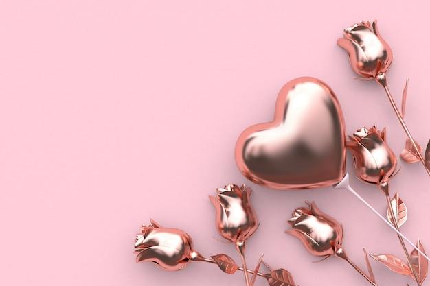 Абстрактный металлический розовый фон роза воздушный шар сердце валентина концепция 3d-рендеринг