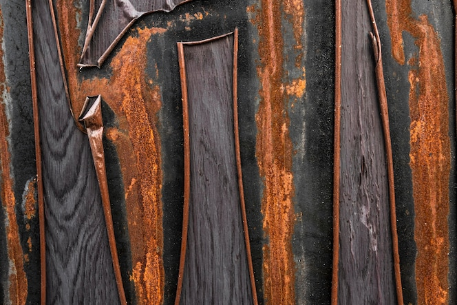 Abstract metallic surface with rust