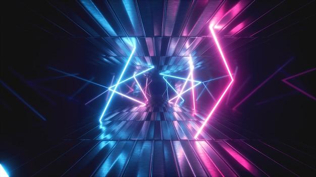 Abstract metallic texture virtual reality tunnel