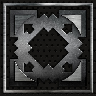 Abstract texture metalliche su uno sfondo metallico perforato