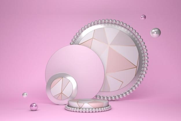 기하학적 형태와 삼각형 패턴으로 추상 최소한의 3d 장면 실린더 연단 핑크 파스텔 색상 화장품 podructs 쇼케이스 디스플레이 케이스 3d 렌더링을 보여주는 장면