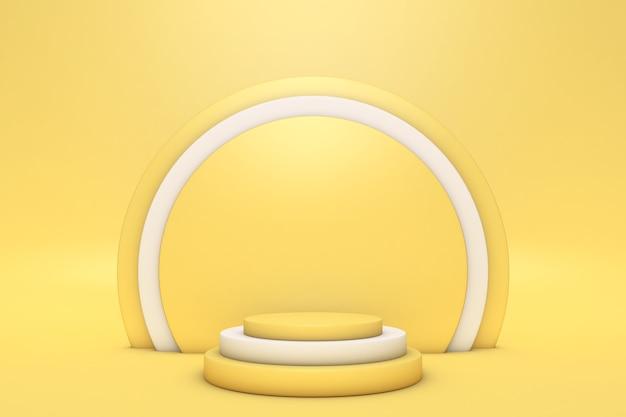 기하학적 형태와 추상 최소한의 3d 장면 실린더 연단 밝은 노란색 색상 추상적 인 배경 장면 prodructs 쇼케이스 디스플레이 케이스 3d 렌더링을 표시하는