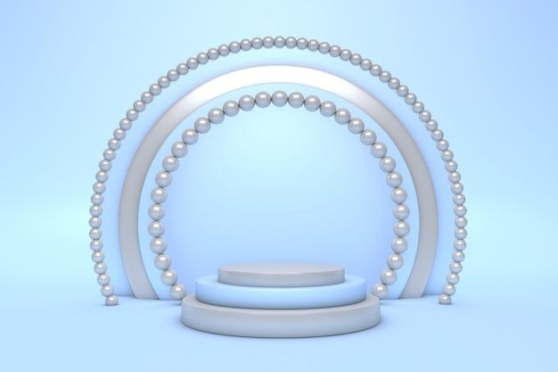 기하학적 형태의 추상 최소한의 3d 장면. 크림 블루 색상의 실린더 연단.