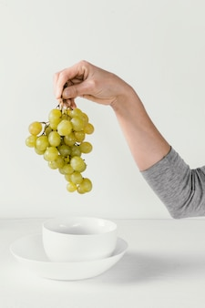 Abstract minimal concept grapes and hand