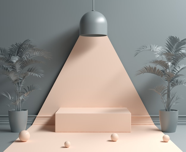 Abstract minimal empty podium under light lamp concept background 3d render