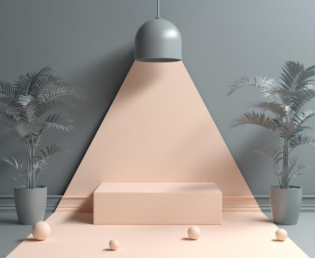 빛 램프 개념 배경에서 추상 최소한의 빈 연단 3d 렌더링
