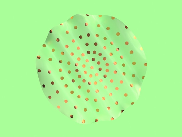 Abstract minimal flat scene wave curve shape metallic gold pattern green color 3d rendering