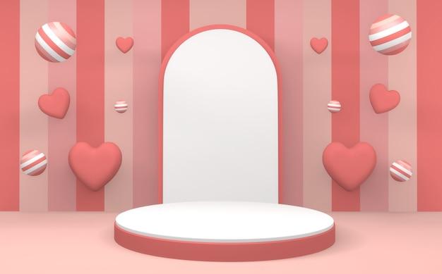 추상 최소한의 기하학 핑크 파스텔 제품 연단 최소한의 디자인. 3d 렌더링