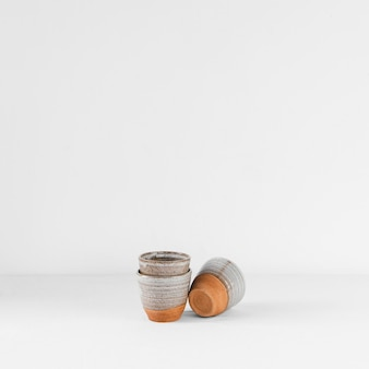 Abstract minimal kitchen cups copy space