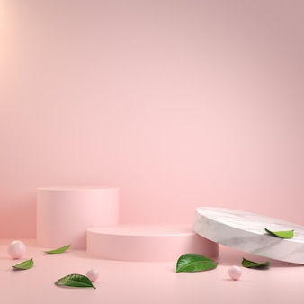 Abstract minimal modern pink podium and leaves 3d render