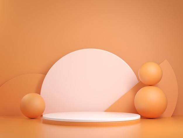 Abstract minimal orange stage geometric concept 3d render