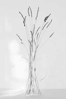 Abstract minimal plant in a transparent jar