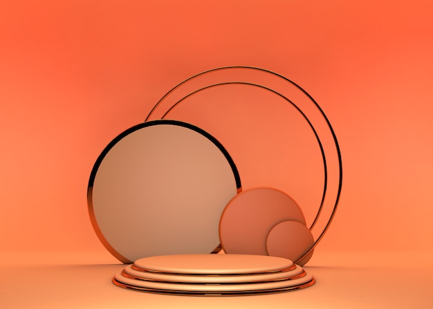 Abstract minimal scene background with geometric forms, can be used for commercial advertising. podium in abstract orange summer composition, 3d rendering.