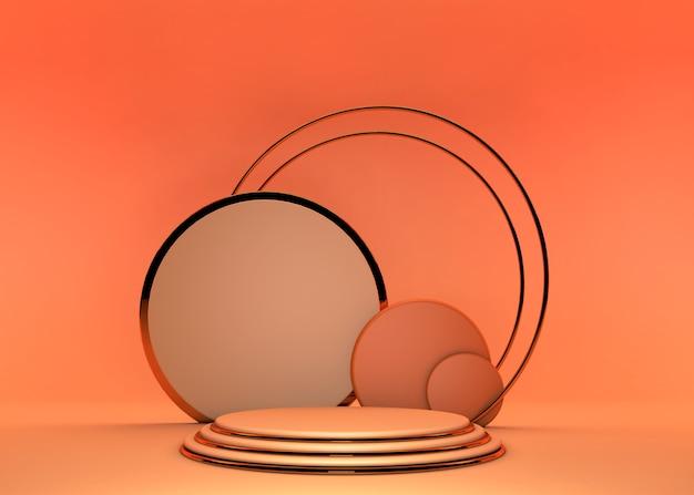 기하학적 형태와 추상 최소한의 장면 배경, 상업 광고에 사용할 수 있습니다. 추상 오렌지 여름 구성, 3d 렌더링에 연단.