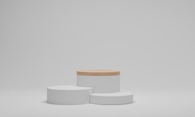 추상 최소한의 장면 플랫폼. 흰색 바탕에 기하학적 모양 나무 연단입니다. 3d 렌더링