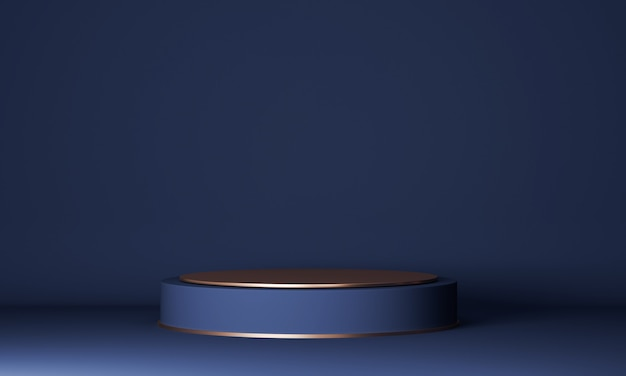실린더 블루와 골드 연단으로 추상 최소한의 장면. 제품 프레젠테이션, 모의 프리미엄 사진