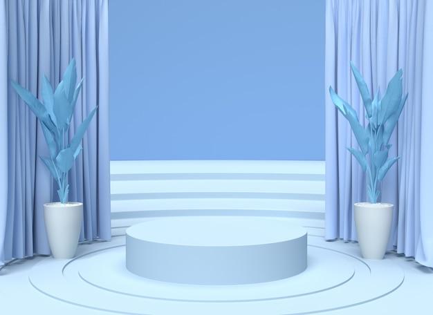 シリンダー表彰台の抽象的なミニマルシーン