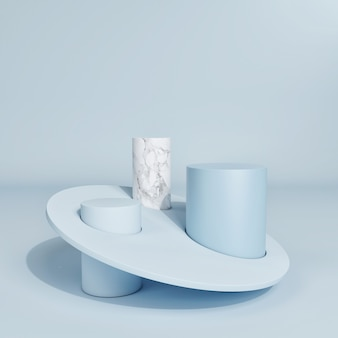 The abstract minimal scene with a geometric form for product presentation, blue background, 3d render, 3d illustration