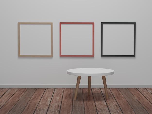 Абстрактная минимальная сцена с геометрическими формами. круглый стол с фоторамкой фона презентации макета. 3d визуализация, 3d иллюстрации