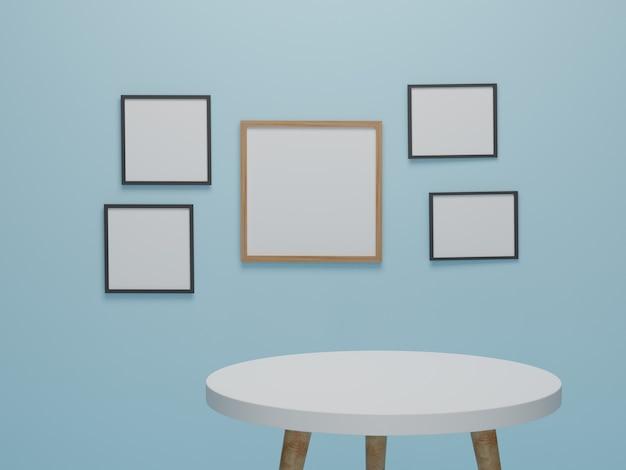 Абстрактная минимальная сцена с геометрическими формами. круглый деревянный стол с фоторамкой фон презентации макет. 3d визуализация, 3d иллюстрации