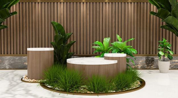 기하학적 형태의 추상 최소한의 장면. 화장품, 연단, 무대 받침대 또는 플랫폼을 보여줍니다. 잎 그림자와 함께 3d 나무 연단 표시. 3d 렌더링