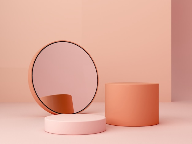 Abstract minimal scene with geometrical forms. cylinder podiums in cream colors and mirror.