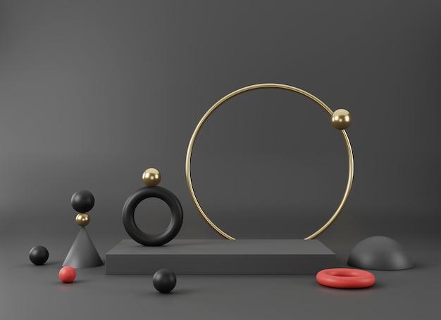 기하학적 형태로 추상 최소한의 장면 제품 프리젠 테이션 3d 렌더링을위한 최소한의 배경 디자인에 빈 연단 디스플레이