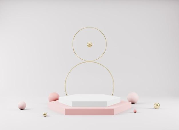 幾何学的な形の抽象的な最小限のシーン最小限の背景に空の表彰台を表示製品プレゼンテーションのデザイン3dレンダリング