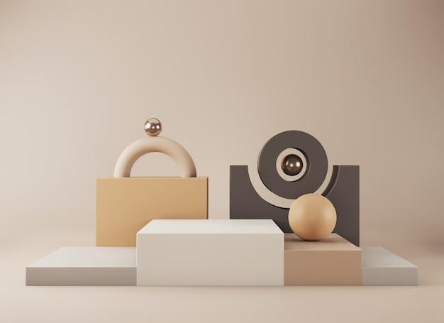 기하학적 형태의 추상 최소한의 장면 제품 프리젠 테이션 d 렌더링을위한 최소한의 배경 디자인에 빈 연단 디스플레이