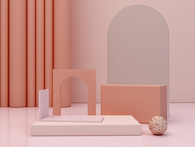 Abstract minimal scene with geometrical forms podiums in cream colors