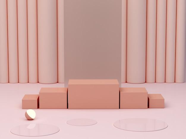 크림 색상의 기하학적 형태 연단이 있는 추상 최소 장면