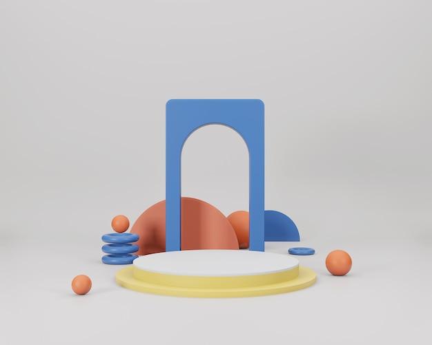 幾何学的な形で抽象的な最小限のシーン