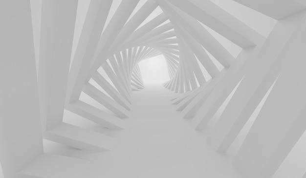 正方形の白い背景を持つ抽象的なミニマルな近代建築の3dレンダリング