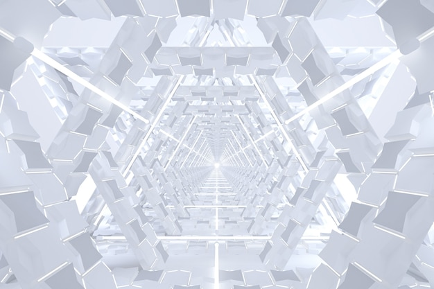 Abstract minimalistic white corridor tunnel white glow line lights virtual reality background