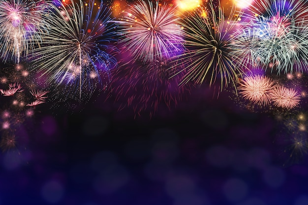 Abstract mix colored firework background with copy space. new year's eve