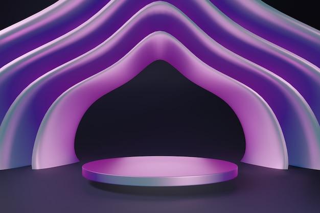 Абстрактный макет сцены подиума для выставочного стенда, сцены 3d-рендеринга.