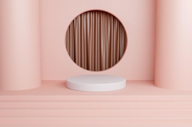 커튼과 원형 파스텔 컬러 창이있는 제품에 대한 추상 모형. 3d 렌더링