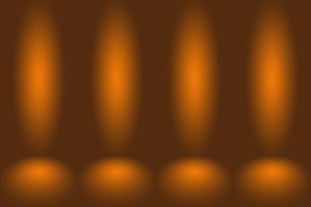抽象的なモックアップ滑らかなオレンジ色のグラデーションスタジオ部屋の壁の背景