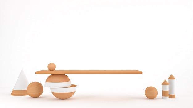 製品のプレゼンテーション、3 dレンダリングのための幾何学的形状の表彰台と抽象的なモダンでミニマルな背景