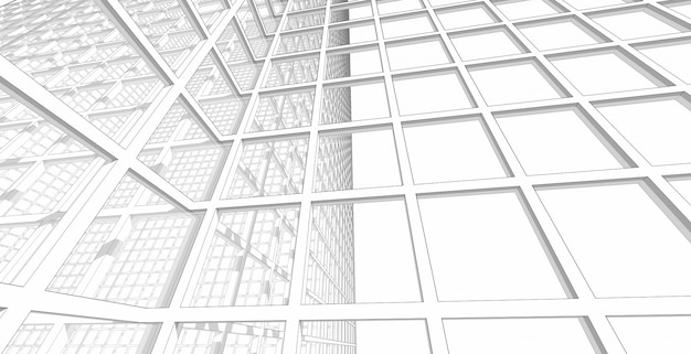 Abstract modern architectural structure glass wall in a square structure, 3d illustration